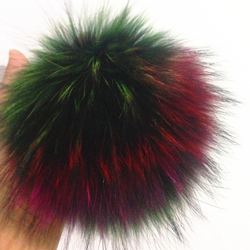 1pc 100% Real Raccoon Fur pompoms fur balls  15-16cm Natural fur pom poms accessories for hats knitted beanies caps ZXM-JY-265B roman patterns to colour