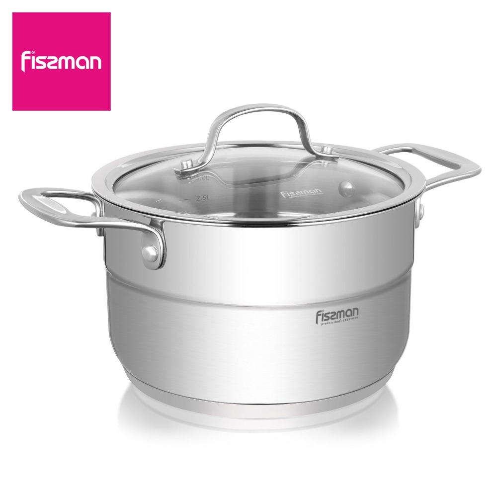 FISSMAN NORDIA Series Casserole with Glass Lid Two side Handles Stainless Steel Induction Bottom Stockpots