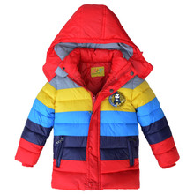 2016  Winter Children Jacket Boys Girls warm Down Coat Kids Outerwear Coats Stripe Clothing For Baby Boys Fashion  Kinds clothes