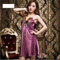 Summer Sexy real silk sleepwear women Rose Embroidery nightwear Lace nightgowns tempatation deep v straps skirts nightgowns