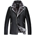 New arrival winter PU leather men's warm coat jacket middle-aged Gifts high quality plus velvet fashion plus size M L XL 2XL 3XL