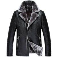 Nowy przyjazd zima PU skóra męska kurtka ciepłego żakiet średnim wieku Prezenty wysoka jakość oraz aksamitna mody plus rozmiar M L XL 2XL 3XL