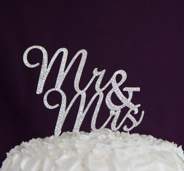 Mr Mrs Crystal Cake Topper Silver Rhinestone Wedding Birthday Bling Toppers Decorations Party Favor Accessory