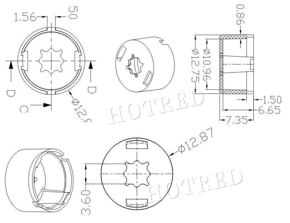 13mm Cree Xpe Xpe2 Xpg Xpg2 Xte Epiledsemiled 3535 Led Lens 3030