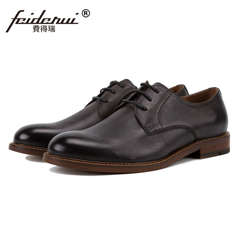 New Luxury Genuine Leather Wedding Party Men's Handmade Footwear High Quality Brand Round Toe Derby Formal Dress Man Shoes SS92