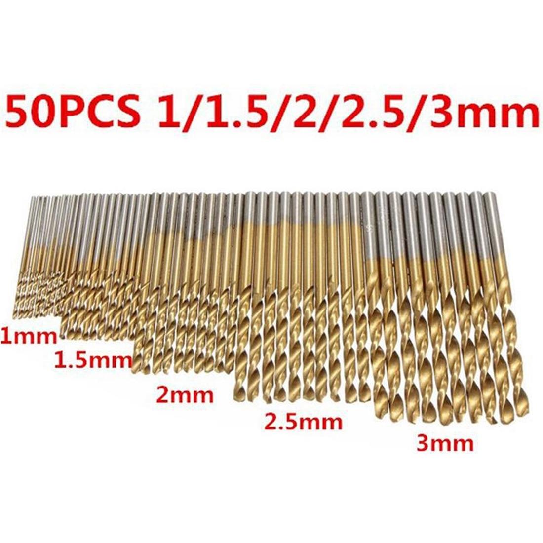 New 50Pcs Titanium Coated Drill Bits HSS High Speed Steel Drill Bits Set Tool High Quality Power Tools 1/1.5/2.0/2.5/3mm