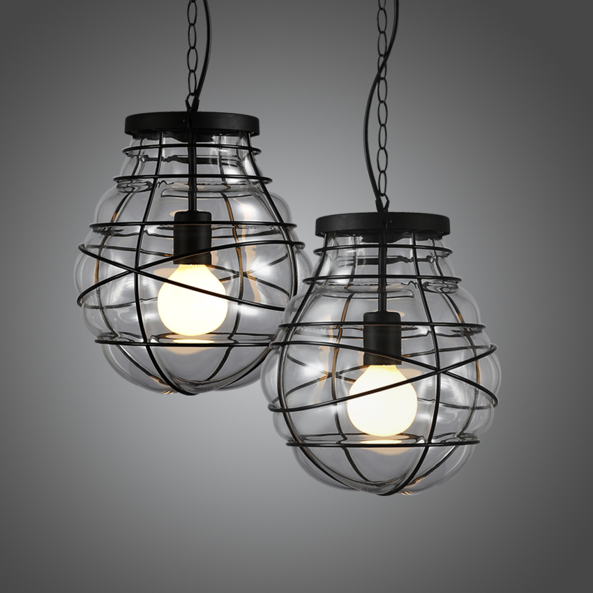 ФОТО American Retro Restaurant Bar Bedroom Adornment  Wrought Iron Glass Pendant Lamp