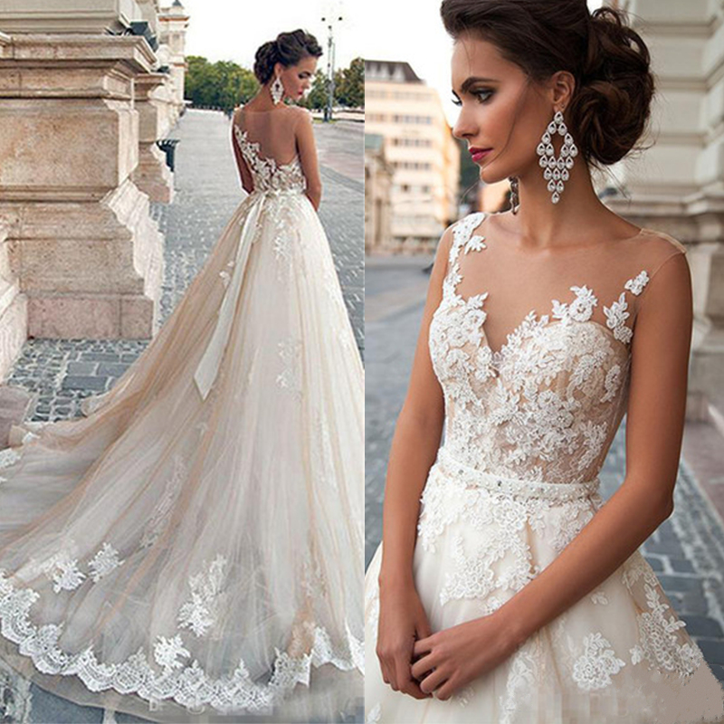 Thinyfull 2019 Sheer Illusion Beige Wedding Dresses Lace Applique Beading Waist Bridal Gown Dress with Detachable