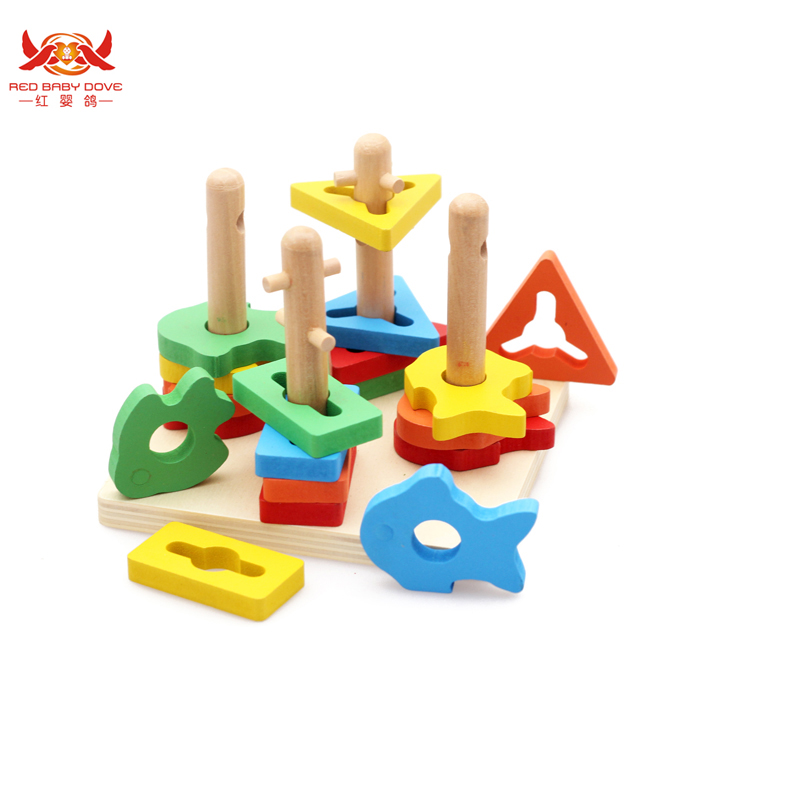 Wooden Geometric Sorting Board Blocks Montessori Wooden Blocks Toys Kids Baby Building Beech Educational Four Column Suit Blocks delivery is free children s makeup geometric building blocks montessori teaching aids 8 sets wooden toys educational toys