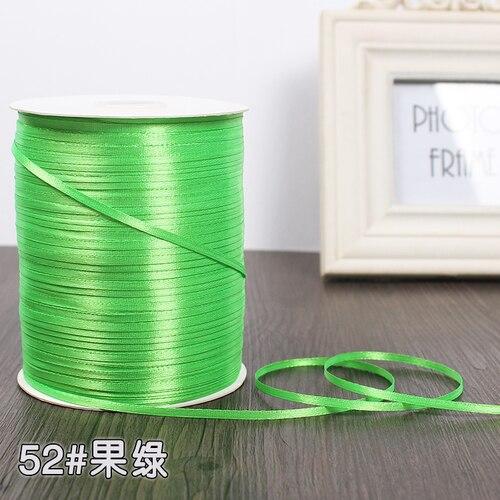 3 мм ширина бордовые атласные ленты 22 метра швейная ткань подарочная упаковка «сделай сам» ленты для свадебного украшения - Цвет: Apple green