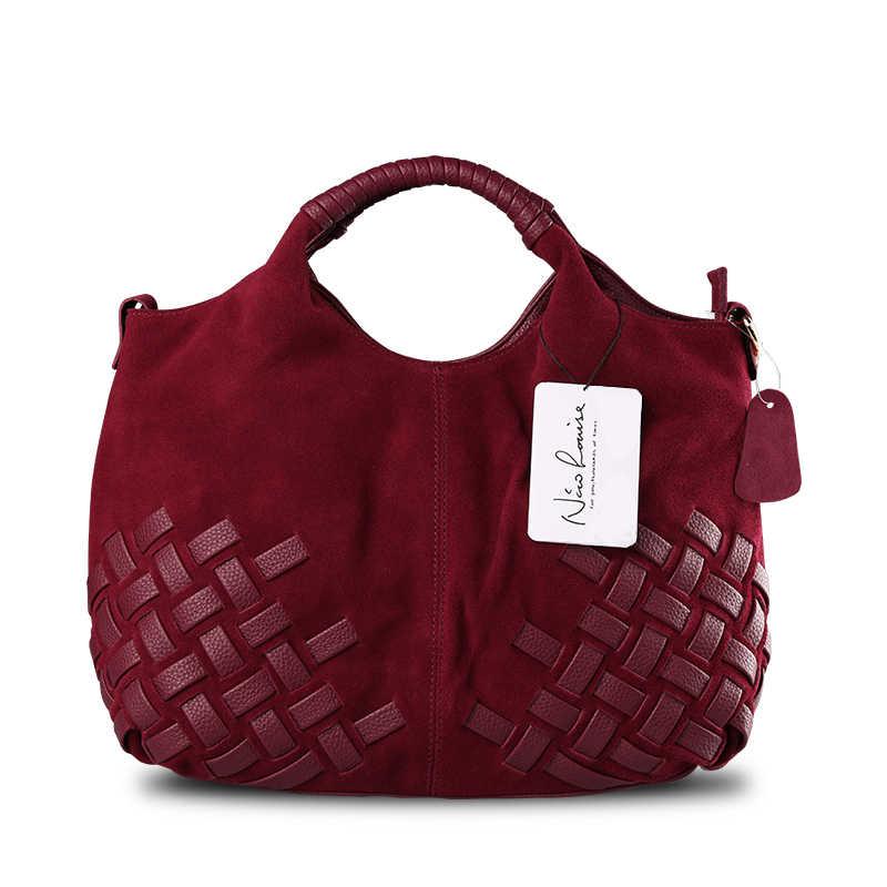 68de5868484c ... Последняя Женская тканая замша разрезная кожаная сумка женский досуг  Повседневное леди Crossbody сумка Топ-Ручка