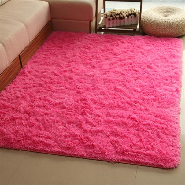 140X200CM Solid Plush Carpets for Living Room Home Bedroom Rugs and ...