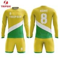 Thailand Quality Soccer Uniform Set 100% Full Sublimation Long Sleeve Customized Professional Wholesale Soccer Jersey