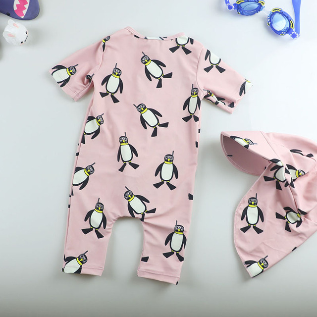 Lovely Pink Penguins Baby Girl Swimsuit Children's Swimwear Kids Bathing Suit Sunscreen Sundry Surf Suit Hat Suits 0-48 Months