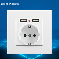 250V 16A German Standard Socket Switch Outlet Plug Connector Power Supply Outlet Panel With Dual USB