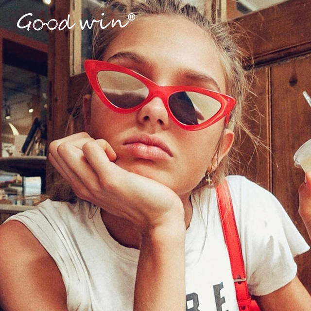 bea04bbba415 GOOD WIN Mirrored Sexy Red Cat eye Sunglasses Supreme Women Small Sun  Glasses Hot 2018 Trendy Vintage 90s Style Lentes de Femme