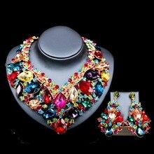 Lan palais boutique nigérian bijoux de mariage six couleurs cristal Autrichien collier et boucles d'oreilles pour le mariage livraison gratuite