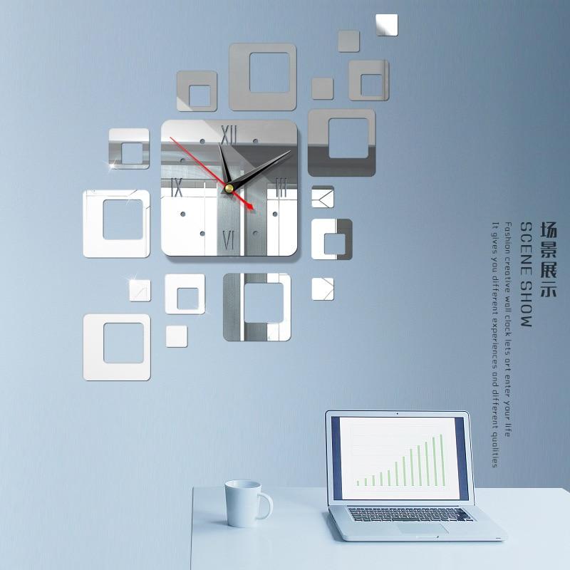 Американский современный большой 3D зеркальная поверхность настенные часы стикер домашний офис комната DIY Декор - Цвет: c