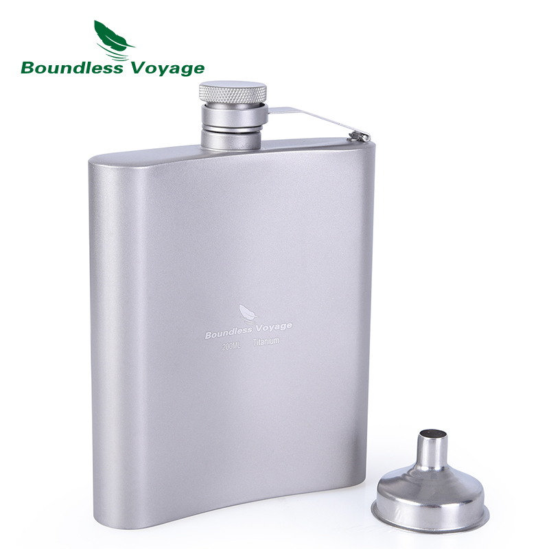 Boundless Voyage Camping Sports Water Bottle Wine Whiskey Flagon Titanium Hip Flask with Cup 7oz 200ml