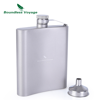 Boundless Voyage Camping Sports Water Bottle  Wine Whiskey Flagon Titanium Hip Flask with Cup 7oz/200ml fire maple portable titanium flagon outdoor hip flask camping wine pot jug with cup travel drinkware fmc 1703002