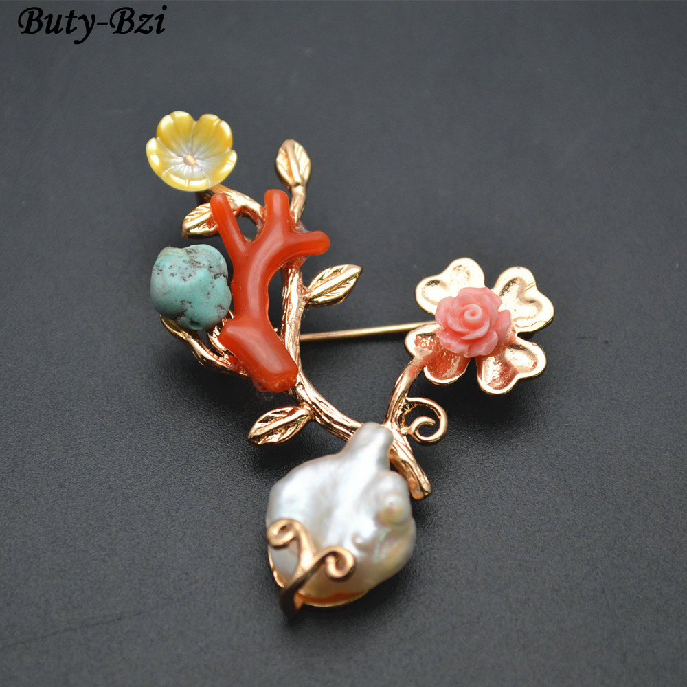Unique Paved Natural Fresh Water Pearl Shell Flower Irregular Stone Red Coral Branch Brooches Pins Jewelry