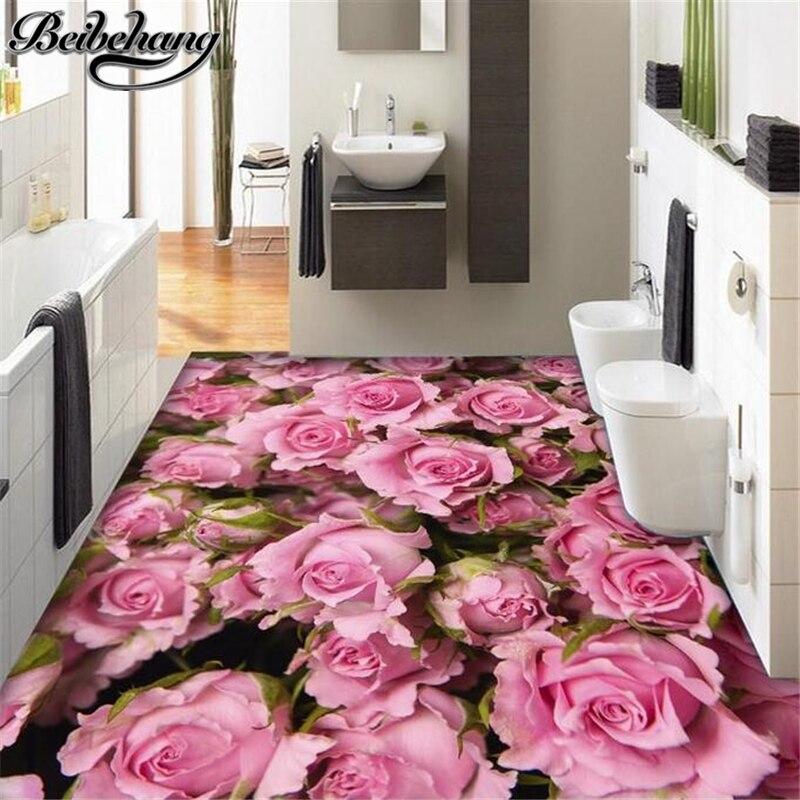 Beibehang Custom flooring HD beautiful beautiful rose sea living ...