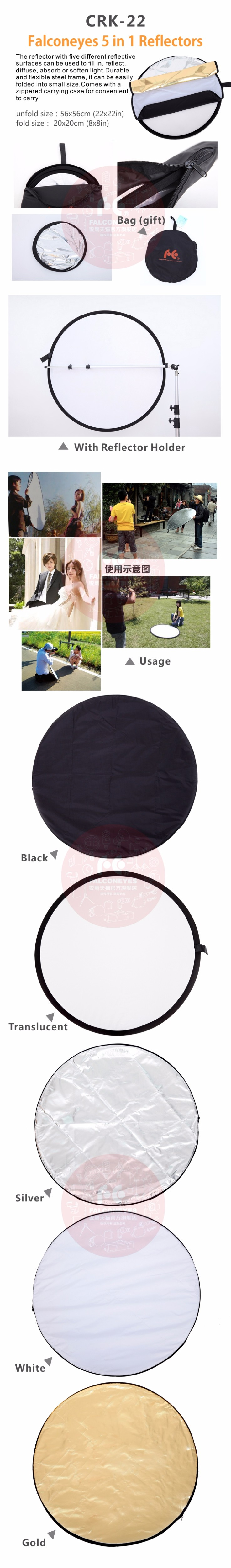 "Falconeye 56CM/22"" 5 in 1 Round Reflector for Camera Photo Studio Retrato Collapsible Photography Accessories / Flash Reflector 19"
