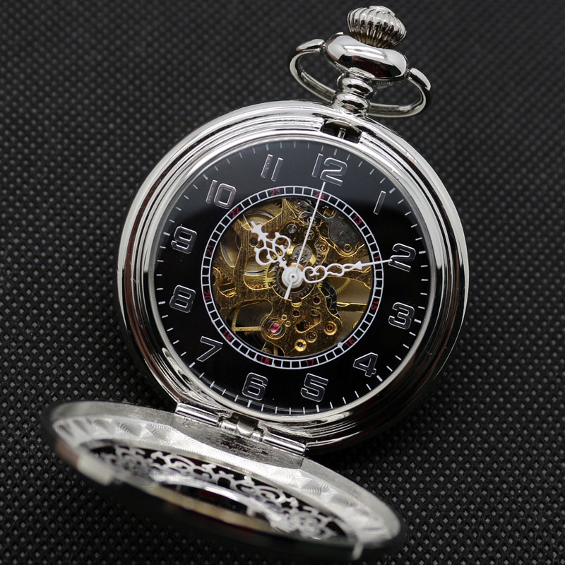 Купить с кэшбэком Half Hunter Silver Vintage Mechaincal Hand Wind Pocket Watch Set Fob Chains Best Gift for Men Women