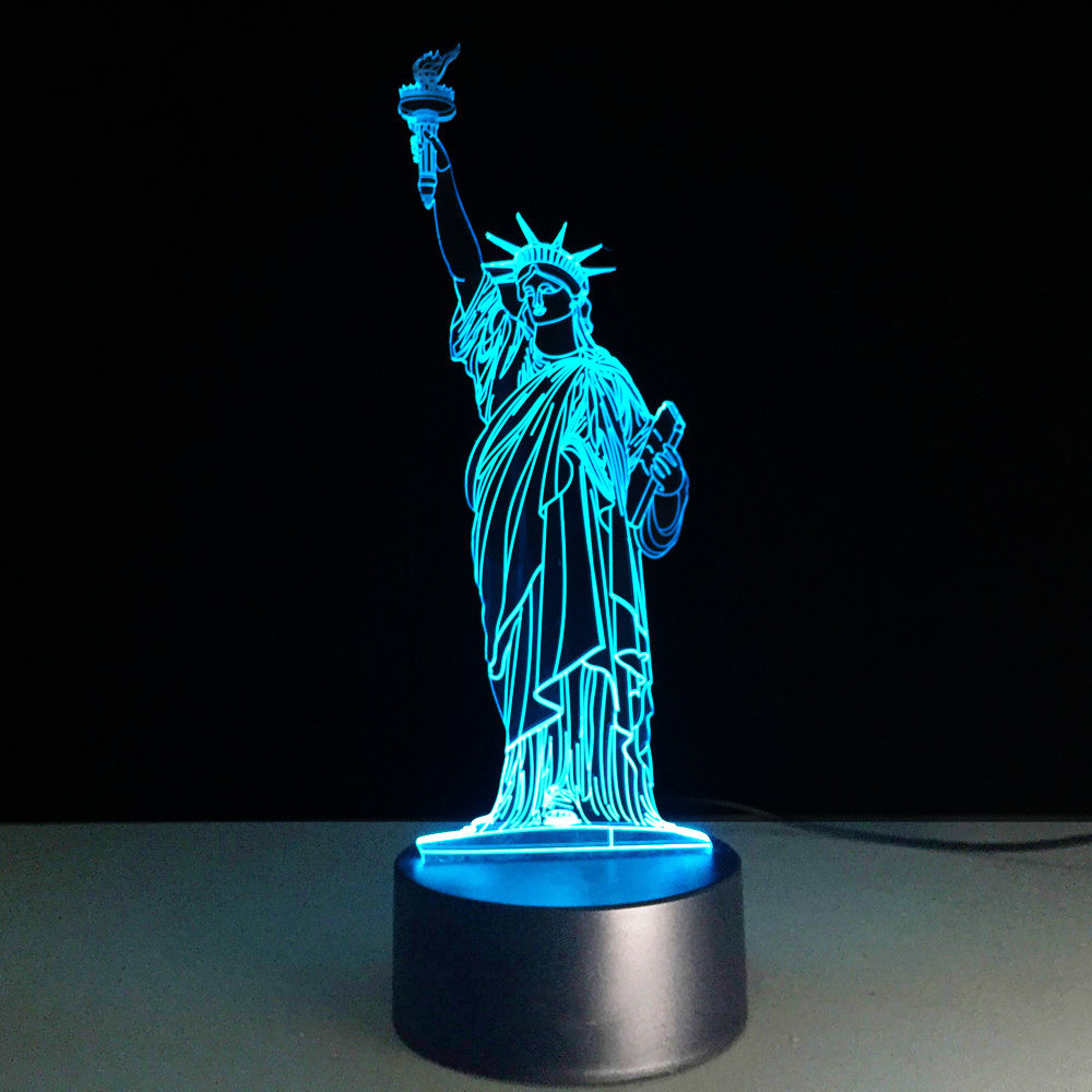 Creative Baby Night Lights 3d Led Statue Of Liberty Table Lamp 7 Color Change Bedroom Bedside