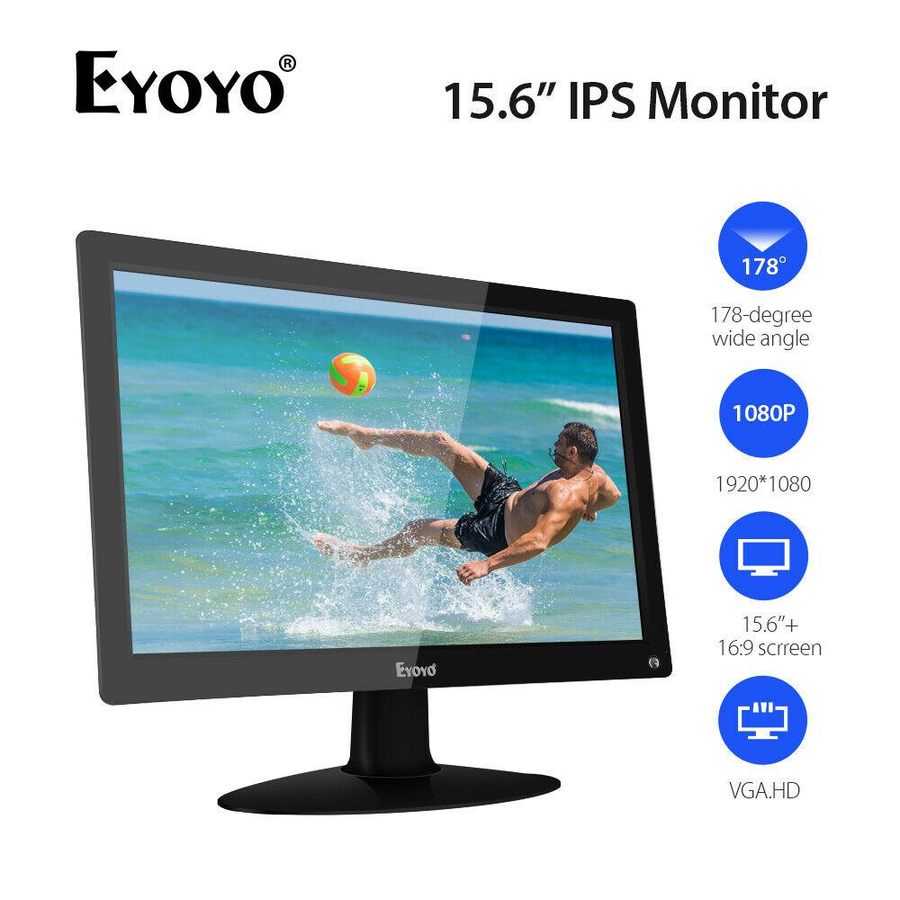 Eyoyo 15.6 Polegada Monitor Pequeno Monitor Hdmi vga Monitor de CCTV Portátil com Monitor de Tela de LCD 1280x720 16:9 IPS BNC AV/VGA