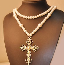 Free Shipping! New Design Vintage Fashion Pearl Cross Pendants Long Necklace Sweater Chain Jewelry for Women Dress Accessory vintage bullet cross shape sweater chain for men