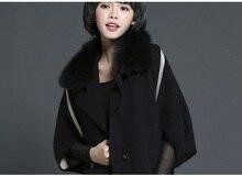 New knitted mink cashmere cardigan women fashion sweater with big fox fur collar coat ladies fur shawl/outwear