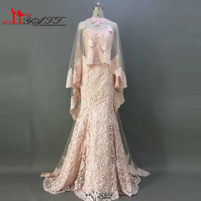 Real Picture 2016 Best Selling Champagne Pink Sweetheart Mermaid Lace With Shawl Vintage Elegant Formal Evening Prom Dresses image