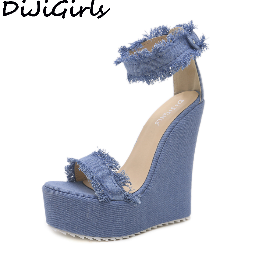 DiJiGirls 2018 Women Ultra Very High Heels Frayed Fringe Denim Shoes Ankle Strap Buckle Sandals Platform Wedge Heel Pumps Party appliqued frayed denim overalls