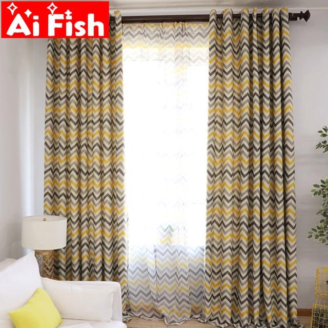 Modern Yellow Grey Horizontal Bedroom Curtains Print Purple Green Cortinas For Living Room Floor