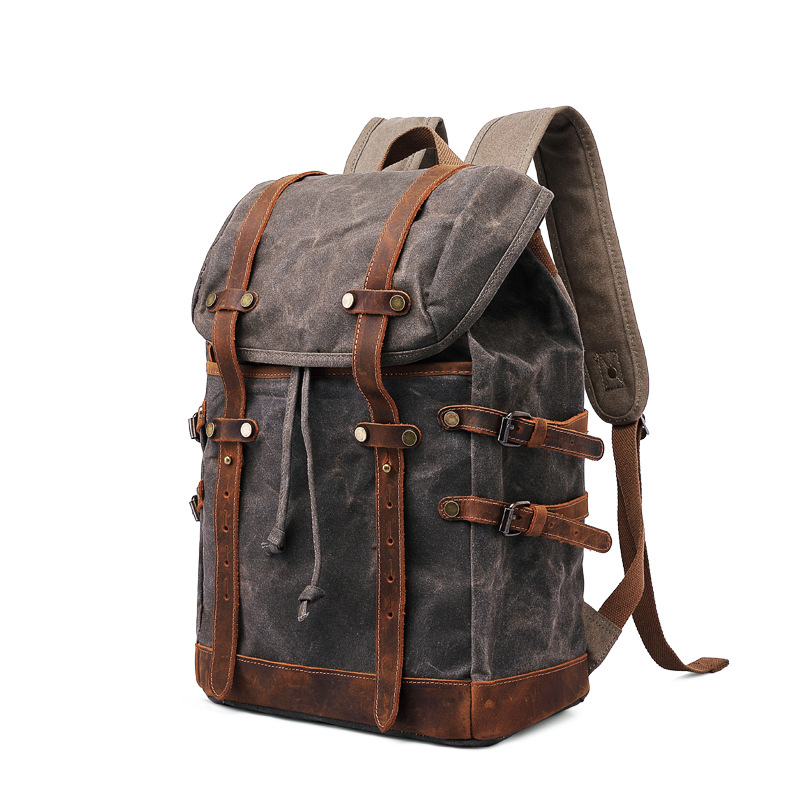 Computador à prova d' água ao ar livre mochila saco de viagem caminhadas mochila de lona retro homens