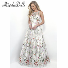 Fee Top Durchsichtig Blumen Stickerei Tüll Abendkleid Weiß 2016 Abendkleid Luxuriöse Long Black Galajurken
