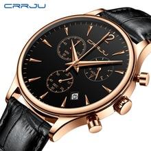 CRRJU relojes deportivos para hombre, de lujo, informal, resistente al agua, con correa de cuero de cuarzo, Masculino
