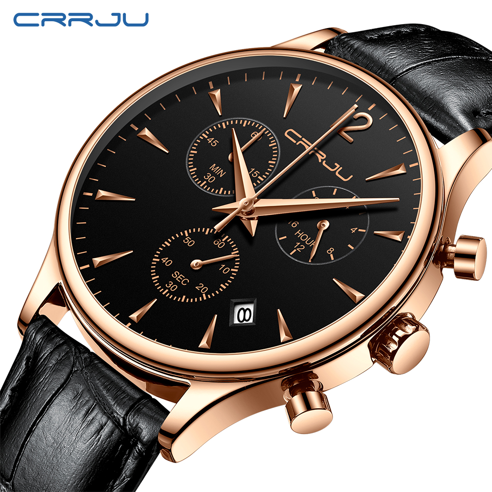 Mens Sports Watches CRRJU Top Brand Luxury Casual Waterproof Watch For Man Quartz Leather Strap Men's Watch Relogio Masculino