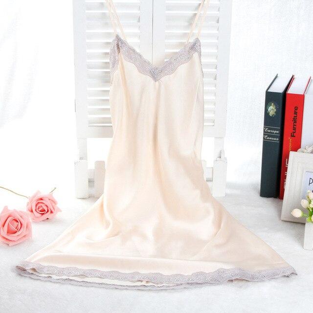 Nova Champagne Ladies Nighties Sexy Sleepshirt Camisola Sem Mangas Com Decote Em V Para Casa Vestido de Renda Camisola de Verão Moda Roupa de Dormir