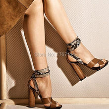 high quality Sexy Women High Heel Sandals Open Toe Buckle Strap Ladies Summer Shoes Snake Skin Leopard Female thick heel sandals
