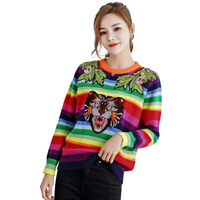 Qooth Color Striped Sweaters Women Tops Tiger 2019 Fashion Streetwear Pullovers and Sweater Femme Pull Stripe Jumper QH1906