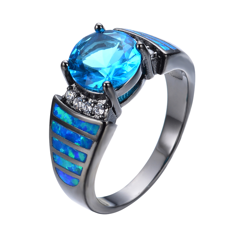 Vintage Light Blue Stone Jewelry Blue Fire Opal Ring Sz6 8