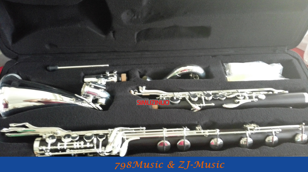 (Low C ) Bass Clarinet Bb Key Grenadilla,Ebony,Black wood Body,Keys silver plated