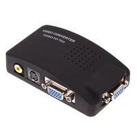 BS Spina BNC A VGA Video Converter Per PC Laptop TV RCA composito S-Video AV-In Per PC LCD VGA Out Adattatore del Convertitore Interruttore Box