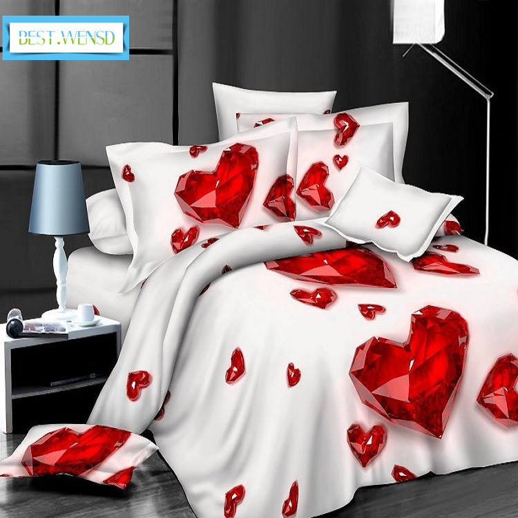 BEST WENSD winter thickening 4pcs High quality Deluxe bedding LOVE Home textiles duvet cover housse de