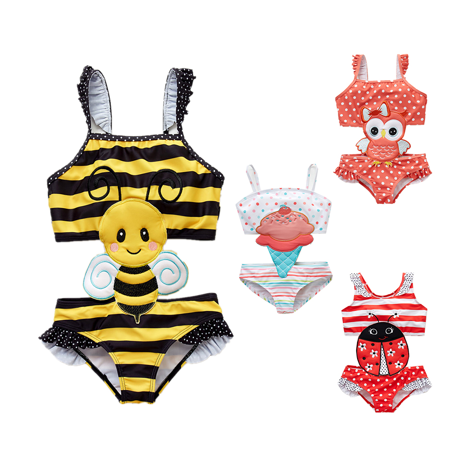 2019 Newborn Girls Baby Bikini Swimming Suits Cute Bowknot Bathing Suit Floral Swimwear Swimming Costume One Piece Swimsuit