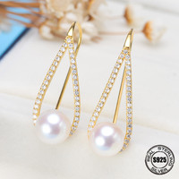 Freshwater pearl earring jewelry women 925 silver,real natural pearl earring sets fine jewelry mother trendy birthday gift Give