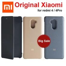 מקורי xiaomi redmi 4 פרו Flip מקרה כיסוי עור PU + מחשב xiaomi redmi 4 נייד מגן