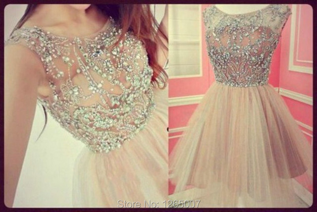 25f422d806 Fashion Cap Sleeves A Line Mini Short Tulle Silver Sparkly Beaded Crystal  Homecoming Dresses 2015 New Semi Formal Party Dress
